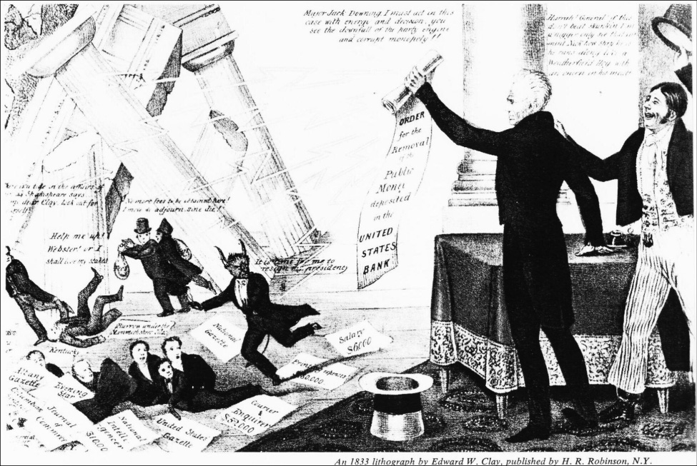 Lithograph of Jackson holding a scroll, representing the order to remove public money from the Bank of the United States while Nicholas Biddle (depicted as the devil with horns) and his supporters are shown running away while the bank building topples onto them.