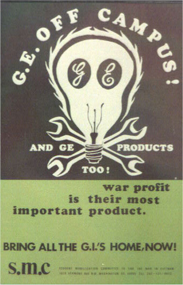 The poster includes a skull-and-crossbones illustration but the skull is a light bulb with GE's initials in each of the eye sockets. The poster reads
