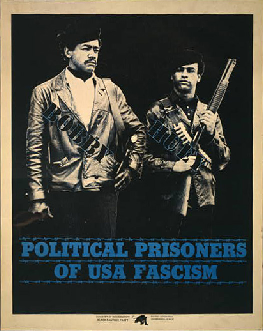 A poster shows Bobby Seale (left) and Huey Newtown (right) with text printed over their bodies identifying them as