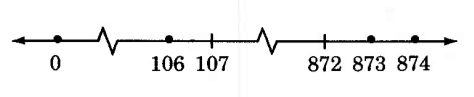 A number line from 0 to 874, with not all whole numbers between 0 and 874 displayed. There are two jagged breaks in the line, one between 0 and 106, and one between 107 and 872. There are dots on the dashes for 0, 106, 873, and 874.