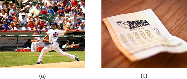 Photograph A shows a pitcher for the Cubs on the mound. Photograph B shows a lottery ticket.