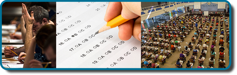 Three photos side by side from left to right show someone looking stressed while taking an exam, a close up of an answer sheet, and a room full of people taking an exam.