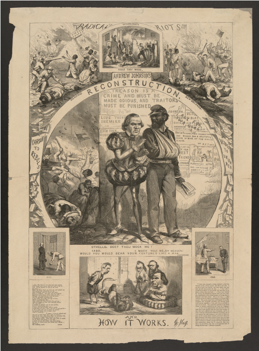 The cartoon shows Andrew Johnson dressed up as Iago, standing beside a black Union veteran who is Othello. Surrounding this image are scenes of whites attacking blacks.