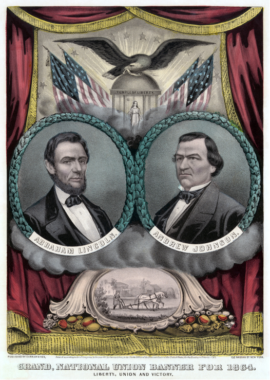 "The poster includes a portrait of Abraham Lincoln on the left and a portrait of Andrew Johnson on the right. The top of the poster shows Columbia standing in a ""Temple of Liberty."" The temple is surrounded by four American flags. An eagle stands on top of the temple. The bottom of the poster shows a man plowing a field. Cornucopias are on both sides of the farming image. The poster's caption reads, ""Liberty, Union, and Victory."""