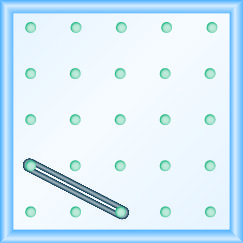 The figure shows a grid of evenly spaced pegs. There are 5 columns and 5 rows of pegs. A rubber band is stretched between the peg in column 1, row 4 and the peg in column 3, row 5, forming a line.