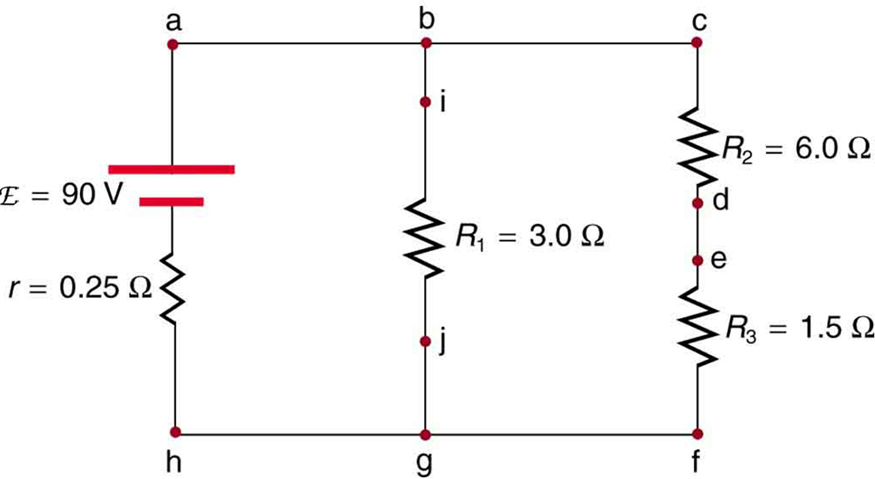 This figure shows a circuit having a cell of e m f script E and internal resistance r connected in parallel to two arms, one arm containing resistor R sub one and a second arm containing a series of resistors R sub two and R sub three.